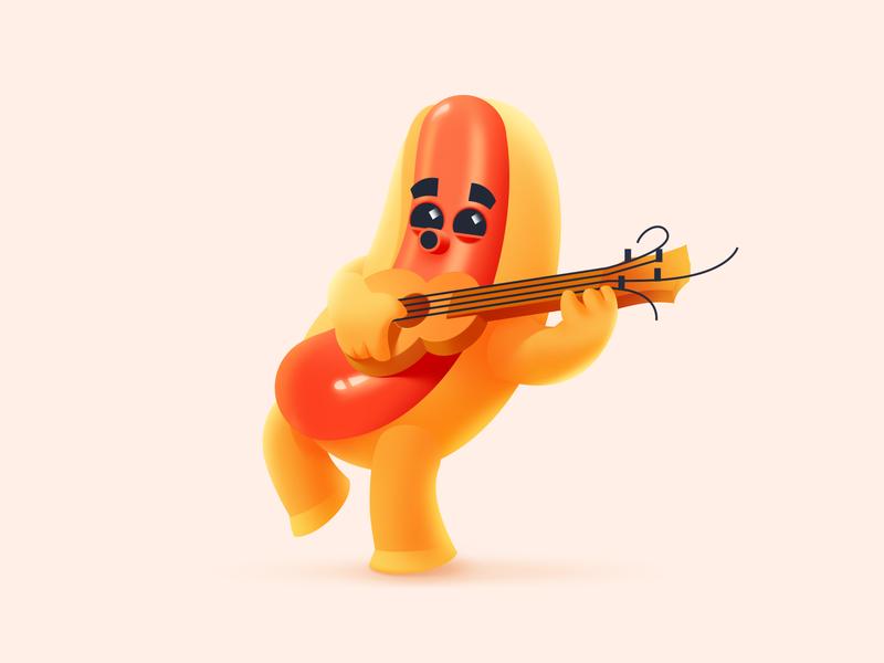 Hot Dog Illustration fast food summer guitar food cute art character illustration funny character hot dog character design illustrator shakuro character vector art design illustration
