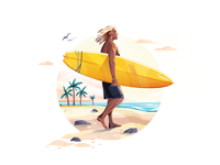 Summer Surf beach surfing surf summer graphic illustration for web 2d illustration character illustration illustration art digital art flat character design illustrator shakuro character vector design art illustration