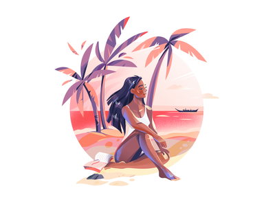Summer Beach summertime digital art web illustration graphic character illustration illustration art palms girl character girl summer beach flat character design illustrator shakuro character vector design art illustration