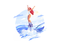 Summer Flyboard girl illustration graphic illustration for web girl character 2d illustration character illustration summertime digital art illustration art flat vector shakuro illustrator girl summer character design art illustration