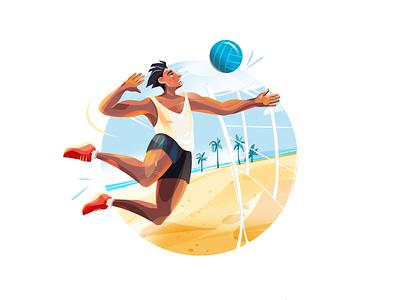 Summer Activities illustration for web digital art game art game games beach volleyball 2d illustration activities summertime illustration art character design illustrator shakuro character vector design art illustration