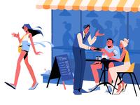 City Life Illustration restaurant coffeehouse cafe graphic design digital artwork character illustration 2d illustration digital art city illustration city life city illustration art character design illustrator shakuro character vector design art illustration