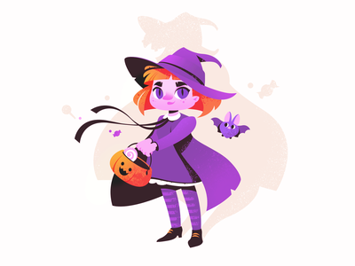 Halloween Witch bat character illustration digital art pumpkin girl character girl trick or treat holiday witch illustration for web illustration art flat character design illustrator shakuro character design art illustration
