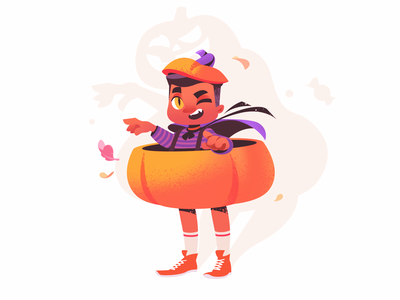 Halloween Jack O' Lantern trick or treat pumpkin holiday halloween illustration boy illustration bat halloween design illustration for web illustration art flat character design illustrator shakuro character design art illustration