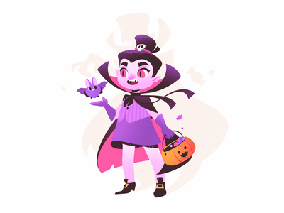 Halloween Vampire bat girl illustration girl character trick or treat pumpkin holiday vampire halloween design halloween illustration halloween illustration for web illustration art flat character design illustrator shakuro character art design illustration