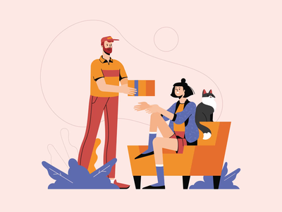 Delivery Guy Handing A Box To A Woman motion graphics animation animated illustration job career team work illustration pack character illustration delivery delivery guy illustration for web illustration art character design illustrator shakuro character design art illustration