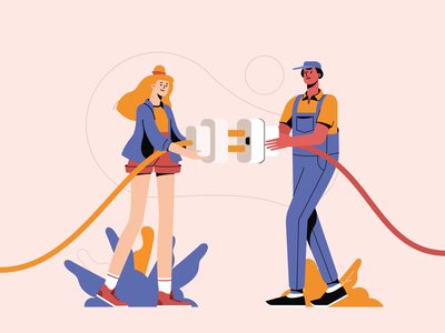 A Girl And A Guy Failing To Plug The Cord In folks guys error boy character girl character team work motion design motion graphic animation character animation illustration pack character illustration illustration for web character design illustrator shakuro character design art illustration