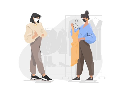 Life in Quarantine graphic clothing shop girls girl character covid-19 fitting room quarantine life quarantine illustration for web flat illustration art character design illustrator shakuro character vector design art illustration