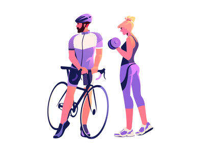 Sports Characters fitness workout training health gym 2d illustration digital art activities cycling sport flat illustration art illustrator shakuro character vector design art sports illustration
