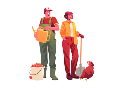 Agriculture Characters digital art agribusiness rural 2d illustration graphic vector illustration village farming character illustration agriculture flat illustration art character design illustrator shakuro character vector design art illustration