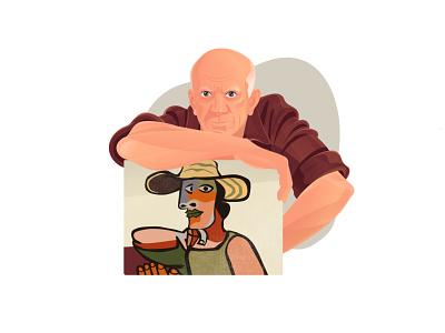 Art for Sale Illustration — Picasso artists graphic digital artwork art for sale illustration for web artworks online platform art gallery picasso artist flat illustration art character design illustrator shakuro character vector design art illustration
