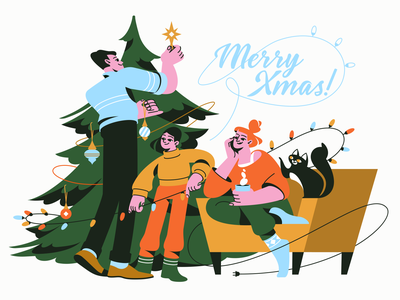Happy Christmas! ⛄️🎄 christmas time christmas bauble topper happiness atmosphere decorating happy christmas happy holidays christmas party family christmas tree character illustration christmas character design illustrator shakuro character design art illustration