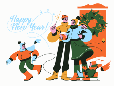 Happy New Year!🎆 digital art christmas time christmas character design vector illustrator moments holidays happiness children family winter new year happy new year illustration art shakuro character design art illustration