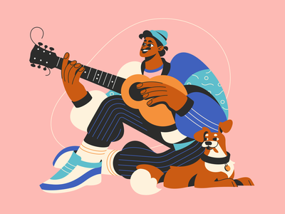 Lockdown Characters: A Guitar Player human dog hobby man guitar guitar player lockdown digital art character illustration illustration for web flat illustration art character design illustrator vector character shakuro design art illustration