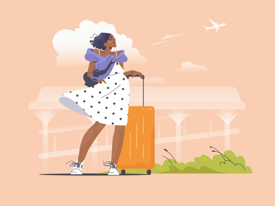Springtime Feel: Setting Out For A Journey airport suitcase adventure spring springtime girl character graphic digital art character illustration flat character design illustration art illustrator vector character shakuro design art illustration