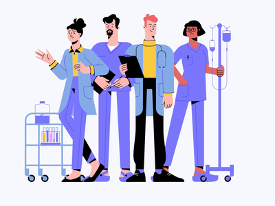 Medical Characters: Doctors And Nurses professionals healthcare medical motiongraphics motion animation digital art character illustration nurses doctors flat character design illustration art illustrator vector character shakuro art design illustration