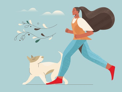A Girl And A Dog 3 web illustration girl illustration running dog girl character graphic digital art character illustration illustration for web flat character design illustration art illustrator vector character shakuro design art illustration