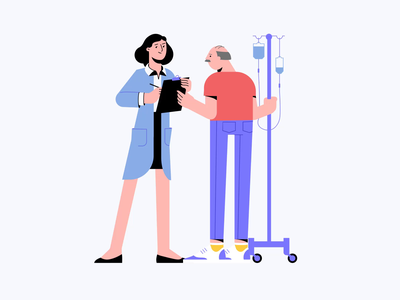 Medical Characters: A Doctor Caring For An Elderly Person elderly care doctor medical care medical animation motion design graphic digital art character illustration illustration for web flat character design illustration art illustrator vector character shakuro art design illustration
