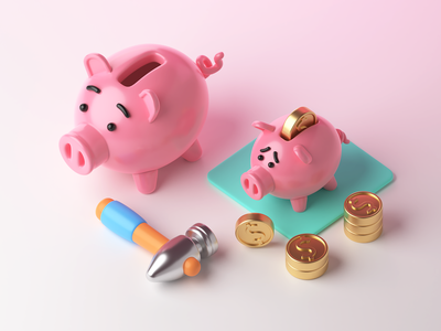 3D Finance: Big Money cute piggy piggybank finance money bag money 3d illustration 3d art 3d bank graphic digital art character illustration illustration art illustrator vector shakuro design art illustration