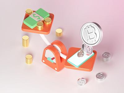3D Finance: Bitcoin Power financial finance art graphic design 3d illustration illustration