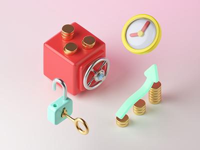 3D Finance: Money Growth illustrator crowdfunding save vault time lock coin financial 3d illustration illustration finance