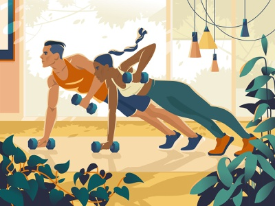 Active Characters: Workout active motivation sport graphic digital art character illustration illustration for web flat character design illustration art illustrator character vector shakuro design art illustration