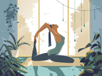 Active Characters: Yoga meditation sport active yoga girl illustration girl character graphic digital art character illustration illustration for web flat character design illustration art illustrator character vector shakuro design art illustration