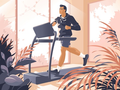 Active Characters:  Treadmill Workout runner fitness sport workout treadmill active graphic digital art character illustration illustration for web flat character design illustration art illustrator character vector shakuro design art illustration