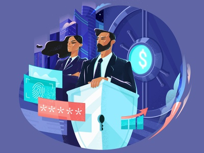 Financial Operations: Security graphic digital art character illustration illustration for web security system security finance financial flat character design illustration art illustrator character vector shakuro design art illustration
