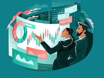 Financial Operations: Company Analysis finance illustrator character vector shakuro design art illustration