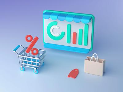 3D E-Commerce: Discounts offer shopping illustration for web 3d illustration 3d illustration art digital art finance discount discounts illustrator vector shakuro design art illustration ecommerce