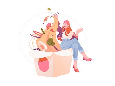 Restaurant 2D Illustration: Chinese Food food delivery meal lunch dinner flat digital art illustration for web illustration art restaurant illustration food illustration 2d illustration food chinese food restaurant vector illustrator art design illustration