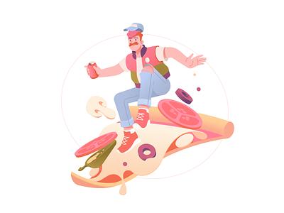 Pizza Illustration For Restaurants digital illustration meals italian food tasty cheese tomato food slice digital art flat pizza service order vector illustrator shakuro art illustration restaurants lunch