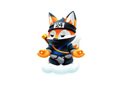 Fox Mascot Character fox character animal digital art mascot logo fox illustration fox logo hosting company fox mascot mascot design symbol meditating ninja mascot fox logo character vector illustrator art illustration