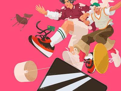 Active Lifestyle Illustration stylish branding illustration color nike style style fashion couple girl girl character graphic character illustration digital art illustration for web illustration art character lifestyle vector art illustration active