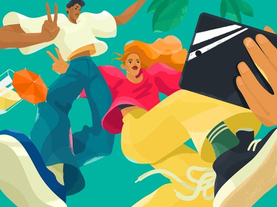 Caught In Motion trendy selfie digital art character design illustration for web illustration art colors young people nike bright people motion energy character vector shakuro illustrator design art illustration