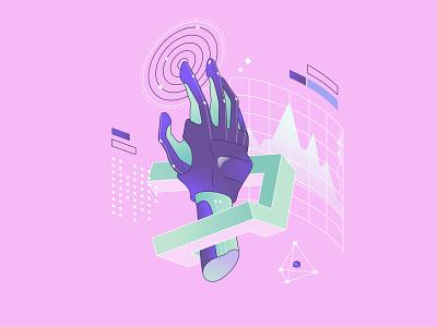 Dream of Electric Sheep pastels 90s vibes robot pink digital art illustration for web illustration art future graphics retro illustration hand android hand android 1990s vaporwave retro vector shakuro art illustration