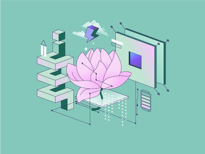 Tranquility retro 90s vibes pastels shape flower mint color character illustration flat digital art illustration for web illustration art palette vector shakuro illustrator art illustration multidimensional gradient tranquility