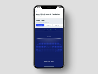 Cinema App Animation: Seats & Payment film interaction design selection seats payment iphone xs xr iphone x ios app movie video pay ui kit cinema tickets animated transition motion design animation ux ui
