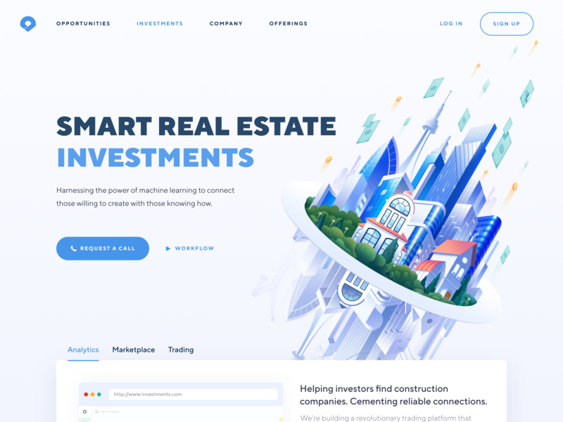 Real Estate Investments Home Page with custom illustration