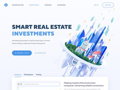 Real Estate Investments Home Page Concept construction illustrator photoshop vector branding art 3d companies builders concept smart real estate investments landing page home page website web design illustration ux ui