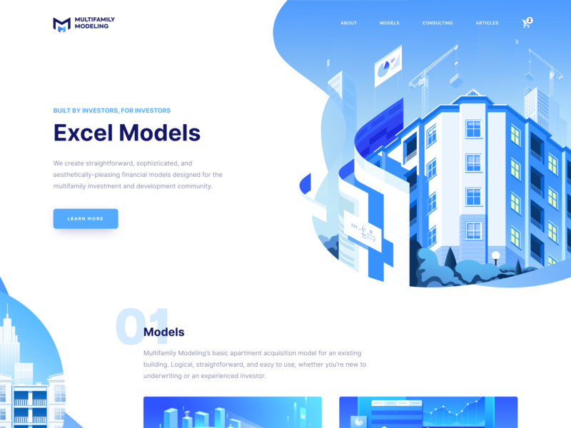 Blue Business Landing Page branding white theme design meticulously-crafted financial models project developers investors business blue modiling vector 3d illustration home page landing page web design ux ui