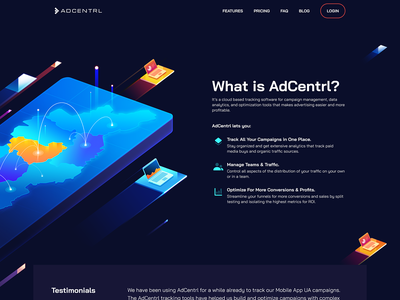 Automated Digital Ad Campaign Management System vector 3d automation system home page landing page system campaign management ad digital web illustration illustration web design ux ui