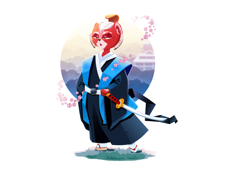 Samurai Cat Illustration samurai cat character illustration art flat vector character design character illustration