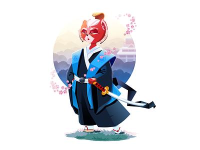 Samurai Cat Illustration samurai cat character illustration art flat vector character design character illustration