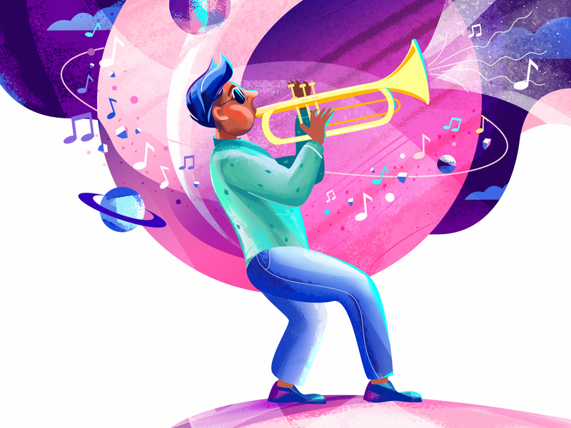 Happy International Music Day! song space musician trumpet character illustration character design world international happy music day music flat illustration flat art 2d vector illustration
