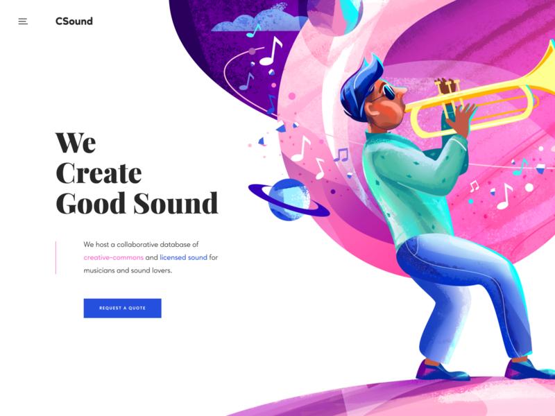 Music Database Concept design art sound landing page homepage web illustration illustration for web illustration database music concept website web design ux ui