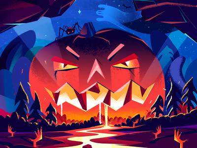 Halloween Illustration raster design adobe photoshop web illustration halloween illustration scary holiday landing page illustration art pumpkin halloween illustration