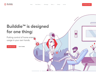 Builddie Website Scrolling Animation character animation brand identity branding motion design animated illustration illustration interaction transition landing page home page scrolling animation website ux ui web
