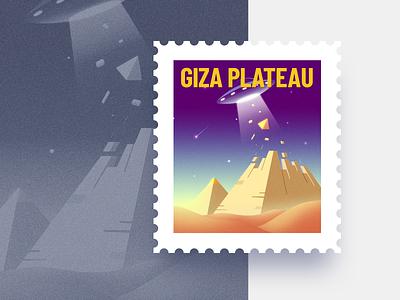 Giza Plateau Stamp design weeklywarmup warm-up pyramids vector egypt ufo weekly warm-up stamp giza plateau dribbbleweeklywarmup illustration